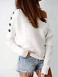 billige -Dame Ensfarget Langermet Pullover Hvit / Rosa / Gul S / M / L