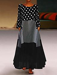 Недорогие -Жен. Большие размеры Свободный силуэт С летящей юбкой Платье - Горошек, Пэчворк Макси