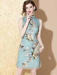 Недорогие -Взрослые Жен. В китайском стиле Оса-Waisted Платья Cheongsam Назначение Помолвка Девичник 100% шелк Midi Платье