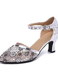 Недорогие -Жен. Танцевальная обувь Полиуретан / Синтетика Обувь для модерна Цветы На каблуках Кубинский каблук Персонализируемая Серебряный