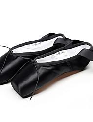 Недорогие -Жен. Танцевальная обувь Сатин Обувь для балета На каблуках На плоской подошве Персонализируемая Черный / Красный