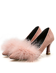 cheap -Women's Heels Chunky Heel Pointed Toe Feather Suede Sweet / Minimalism Spring &  Fall / Fall & Winter Black / Pink / Gray