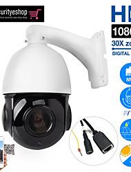 Недорогие -IP-камера PTZ 2-мегапиксельная камера Super HD HD 1920 * 1080 пикселей с панорамированием / наклоном 30-кратный зум Скорость купола 360 ° Открытый Wi-Fi Поддержка камеры видеонаблюдения PoE Поддержка