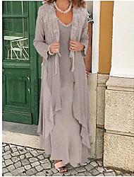 Недорогие -Жен. Из двух частей Платье - Однотонный Макси
