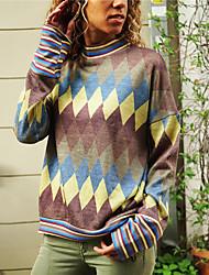 billige -T-skjorte Dame - Geometrisk / Grafisk, Trykt mønster Gatemote Vin