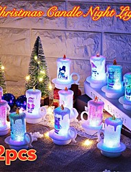 Недорогие -Рождество Санта-Клаус украшения ночной свет свечи свет красочные светодиодные электронные свечи снеговик свет рождественские украшения рабочего стола