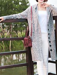 abordables -Femme Couleur Pleine Manches Longues Cardigan, Capuche Gris Clair / Gris Foncé Taille unique
