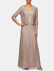 Недорогие -Из двух частей Совок шеи В пол Кружева Платье для матери невесты с Кристаллы от LAN TING Express / Блеск и сияние