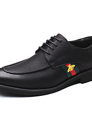 baratos -Homens Sapatos Confortáveis Couro Ecológico Outono Negócio Oxfords Não escorregar Estampa Colorida Preto