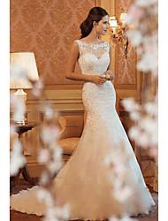 Недорогие -Русалка Вырез лодочкой Со шлейфом средней длины Кружева Свадебные платья Made-to-Measure с от LAN TING Express