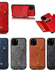 Недорогие -чехол для яблока iphone 11 / iphone 11 pro / держатель карты iphone 11 pro max / с подставкой и задней крышкой из цельной кожи двойная кнопка искусственная кожа для iphone х / х / х / хс / макс / 8