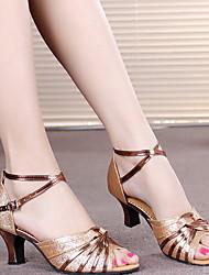 Недорогие -Жен. Танцевальная обувь Кожа Обувь для латины На каблуках Кубинский каблук Черный / Лиловый / Золотой