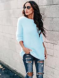 Недорогие -Жен. Однотонный Длинный рукав Пуловер, Круглый вырез Розовый / Синий / Серый S / M / L