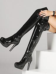 Недорогие -Жен. Ботинки На шпильке Круглый носок Кожа Сапоги выше колена Зима Черный / Красный