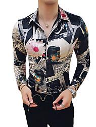 Недорогие -Муж. С принтом Рубашка Уличный стиль / Элегантный стиль Геометрический принт / Контрастных цветов / Графика Хаки