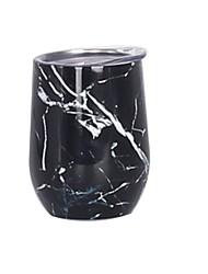 Недорогие -простой современный дух 12oz бокал для вина с крышкой - вакуумная кофейная кружка чашка без стебля 18/8 модель из нержавеющей стали: каррарский мрамор
