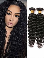 Недорогие -3 Связки Бразильские волосы Крупные кудри Натуральные волосы Человека ткет Волосы 8-28 дюймовый Ткет человеческих волос Расширения человеческих волос / 8A