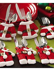 Недорогие -Рождество столовые приборы стол мешок столовые приборы карманный нож посуда сумка Санта-Клаус обеденный стол украшения дома