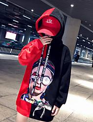 Недорогие -Мама и я Классический Богемный Черный и красный Контрастных цветов Бант С принтом Длинный рукав Длинный Обычная Худи / толстовка Красный