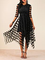 Недорогие -Жен. Элегантный стиль А-силуэт Платье - Однотонный Рубашечный воротник Ассиметричное