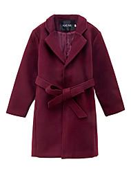 Недорогие -Дети Девочки Уличный стиль Однотонный Шнуровка Длинная Куртка / пальто Винный