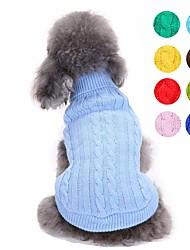 Недорогие -Собаки Свитера Одежда для собак Однотонный Светло-синий Светло-Зеленый Желтый Акриловые волокна Костюм Назначение Корги Гончая Шиба-Ину Весна Осень Универсальные Простой стиль Мода