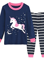 billige -Barn Jente Unicorn Trykt mønster Nattøy Navyblå