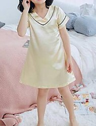Недорогие -Дети Девочки Однотонный Пижамы Розовый