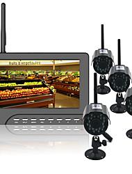 Недорогие -7-дюймовые tft цифровые 2.4g беспроводные камеры аудио-видео детские мониторы 4-канальная четырехъядерная система безопасности dvr с