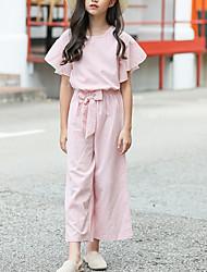 Недорогие -Дети Девочки Классический Богемный Школа На каждый день Полоски Шнуровка С короткими рукавами Обычный Обычная Набор одежды Розовый