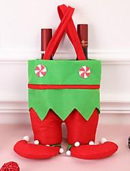 Недорогие -Мода красный эльф полоса / точка бутылка вина крышка сумки шляпа платье набор для рождественского ужина украшения стола