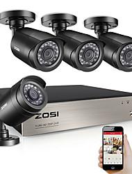 Недорогие -ZOSI 4-канальная система видеонаблюдения 4шт 720p наружная защищенная от непогоды камера видеонаблюдения DVR Kit день / ночь домашняя система видеонаблюдения