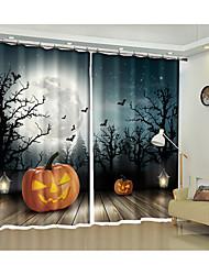 Недорогие -лунная ночь хэллоуин летучая мышь тыква лампа 3d цифровой печатных занавес творческий занавес затенение занавес высокой точности черный шелк ткань высокого качества первоклассный затенение спальня