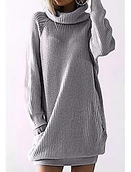 Недорогие -Жен. Однотонный Длинный рукав Пуловер Черный / Серый S / M / L