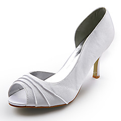 cheap Wedding Shoes-Shoes Satin Spring Summer Stiletto Heel Ruched for Wedding White Black Silver Red Ivory