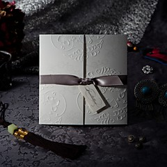 """cheap Wedding Invitations-Tri-Fold Wedding Invitations Invitation Cards Formal Style Vintage Style Flora Style Embossed Paper 6""""×6"""" (15*15cm) Bows"""