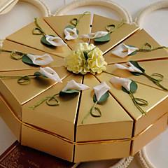 baratos Caixas para Bolos-Pirâmide Papel Pérola Suportes para Lembrancinhas Com Flores Caixas de Ofertas