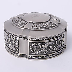 cheap Bridesmaid Gifts-Personalized Vintage Tutania Round Jewelry Box Classical Feminine Style