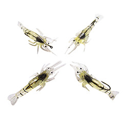 Fishing Lures Craws (4 pcs) Soft Baits Noctilucent Shrimp 40MM 5G Silicon