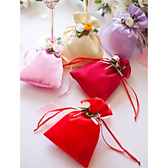 Creative Satin Favor Holder With Flowers Favor Bags-12 Wedding Favors