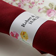 gepersonaliseerde papieren servetring - zoete bloem (set van 50) huwelijksreceptie