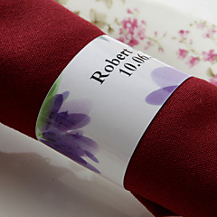 gepersonaliseerde papieren servetring - paarse bloem (set van 50) huwelijksreceptie