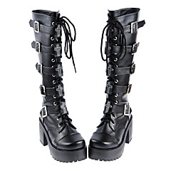 Lolita Shoes Gothic Lolita Handmade High Heel Shoes Solid 8 CM Black For PU Leather/Polyurethane Leather Polyurethane Leather