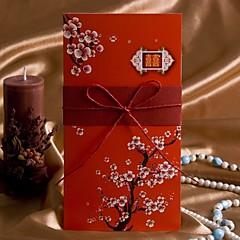 """baratos -Dobrados Convites de casamento Cartões de convite Estilo Artístico Estilo Flôr Papel de Cartão 8 ½""""×4"""" (20.8*10.3cm) Tiras"""
