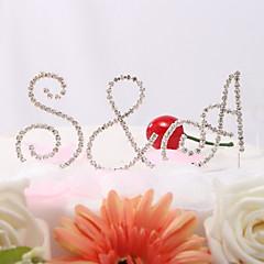 Kakepynt Klassisk Par / Monogram Bryllup / Bridal Shower / 15- og 16-års bursdag / Jubileum / Bursdag Rhinestone Hage Tema / Klassisk Tema