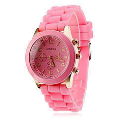 Женские Модные часы Повседневные часы Кварцевый силиконовый Группа КонфетыЧерный Белый Синий Красный Коричневый Розовый Фиолетовый Желтый