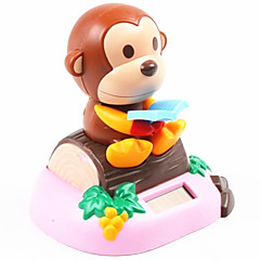 Solar Powered Reading Book Monkey Nodding Toy Istuu Wood