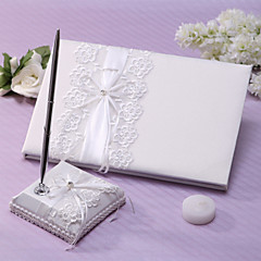 cheap Guest Book & Pen Sets-Guest Book Pen Set Lace Garden ThemeWithRhinestone Sash