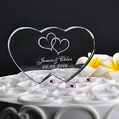 preiswerte Tortenfiguren & Dekoration-Personalisierte Double Heart Wedding Cake Topper