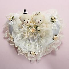 Anel Pillow In White Satin com ursos adorável e Laces